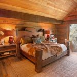 rustic mud wood interior carpet table chairs bed pillows table lamp ceiling lights