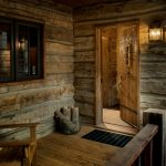 rustic mud wood interior chair wall lamp window wooden walls firewood