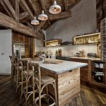 rustic mud wood interior floor tall dining chairs hanging lamps kitchen dining area shelves