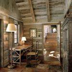 rustic mud wood interior home office chair desk lights door stairs window curtains cupboard