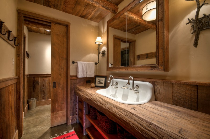 rustic mud wood interior rack bathroom faucet mirror wall lamps shelves sliding door