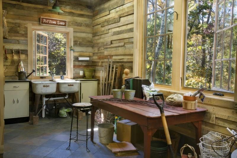 rustic mud wood interior racks windows cabinet shed table stool tools floor tiles