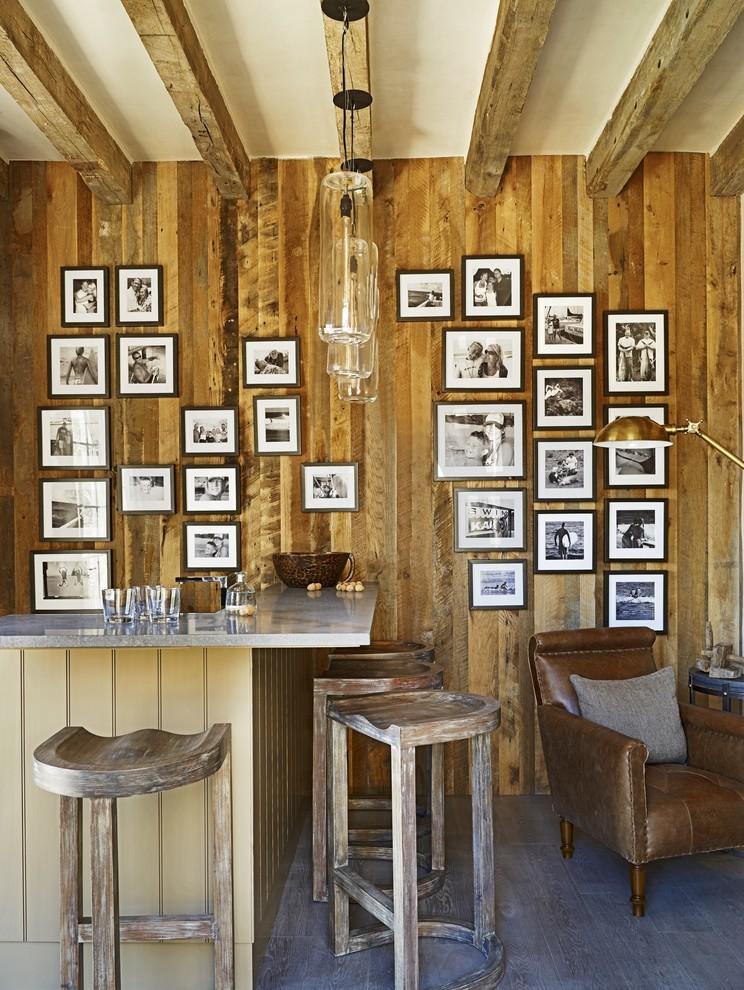rustic mud wood interior stools home bar glasses photos seating lamp hanging lights