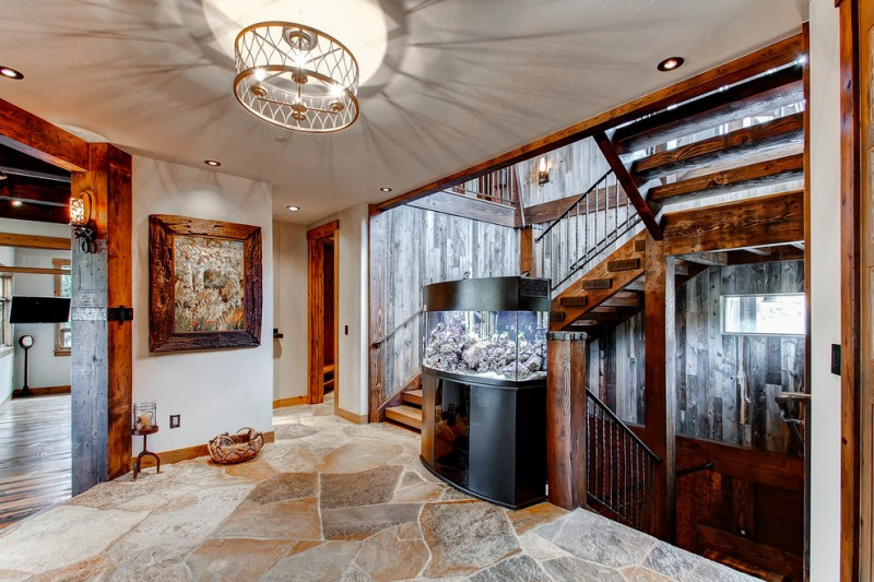 rustic staircase with wooden staircase, wooden vertical covered wall