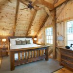 Rustic Style Bed Idea For Cabin Wood Slanted Roof With Ceiling Fan Grey Bedroom Mat Rustic Console Table