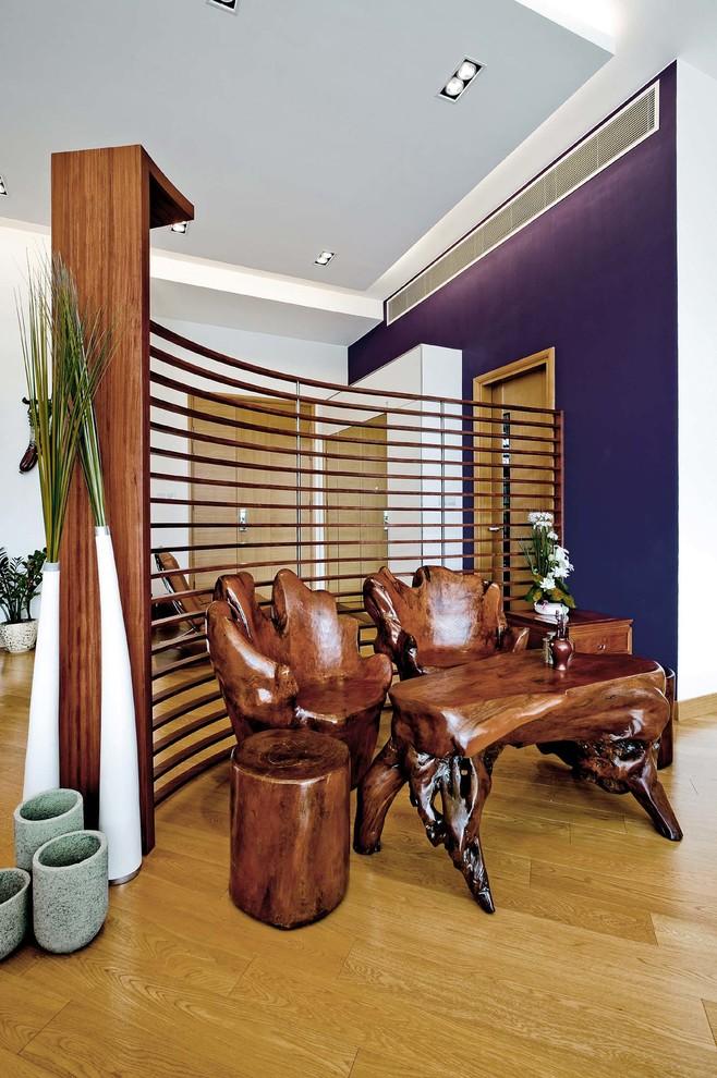 rustic wood furniture idea black iron room divider purple accent wall system light toned wood floors