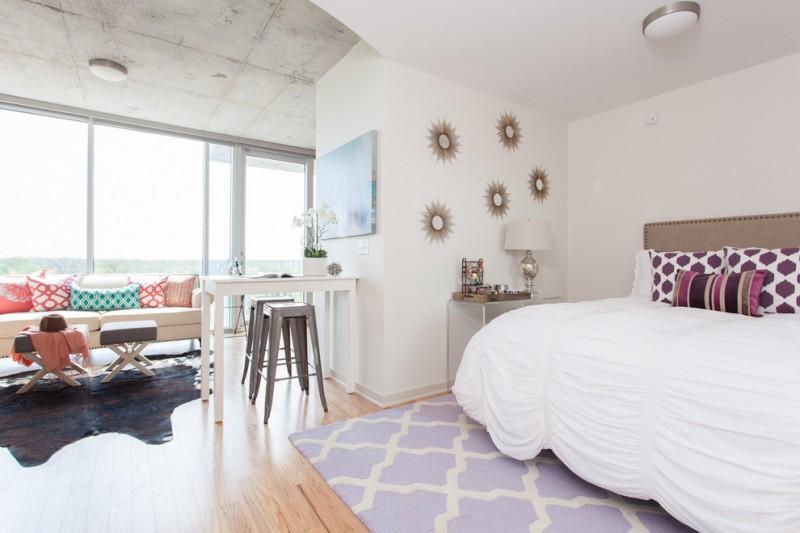 scandinavian furniture austin bedroom king size bed purple rug acrylic console sunburst mirror custom couch animal skin rug
