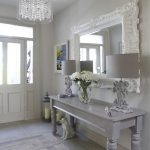 Shabby Chic Style Hall White Elegant Mirror Glamorous Glass Lamp Flower Pot Two Exotic Table Lamps Colourful Painting
