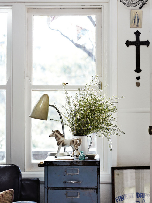 shabby chic style living room with dual purpose vintage side table and drawers