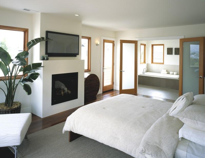 simple glass door for bedroom bathtub french doors wood frames windows bed pillows fireplace wood floor carpet