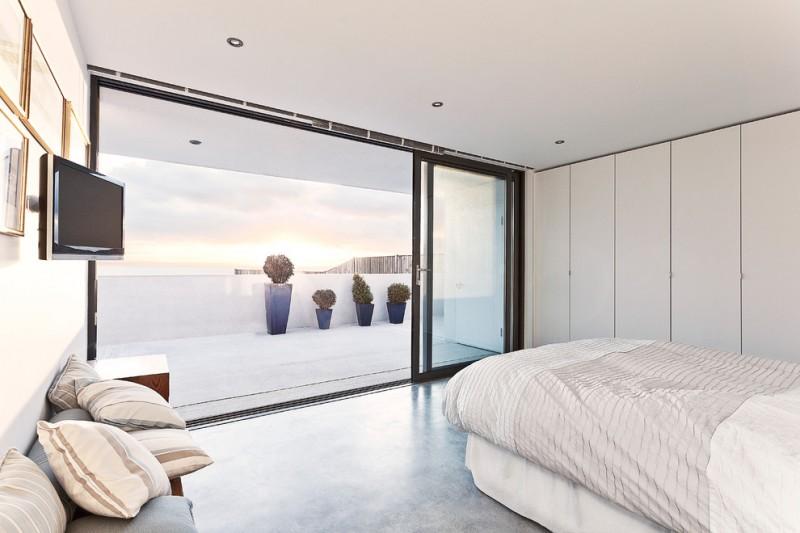 simple glass door for bedroom bed bench pillows wall tv sliding door ceiling lamps decorative plants