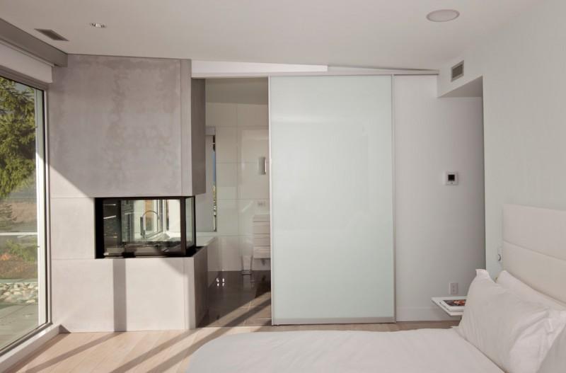 simple glass door for bedroom bed pillow big door ceiling lamp white walls white ceiling wood color floor