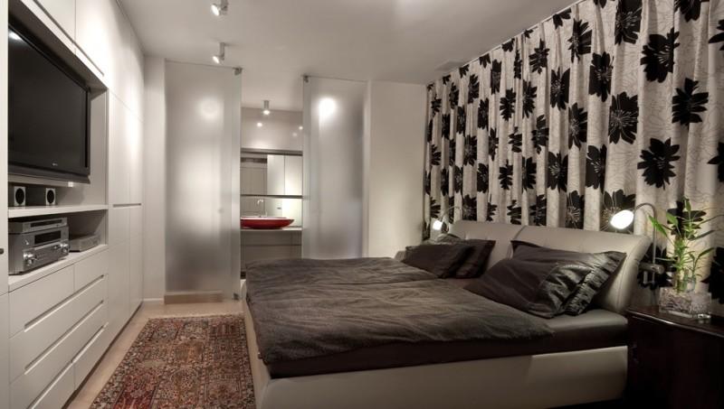 simple glass door for bedroom bed pillows curtain floor to ceiling doors carpet ceiling lights tv