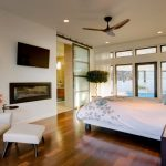 Simple Glass Door For Bedroom Bed Wood Floor Ceiling Fan Chair Table Curtain Wall Tv Pillow Sliding Door Ceiling Lamp