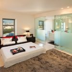 simple glass door for bedroom carpet bed pillows window storage table lamps ceiling lights bathroom