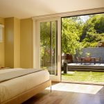 Simple Glass Door For Bedroom Sliding Doors Chair Table Patio Wood Floor Bed Window Pillows Modern Room