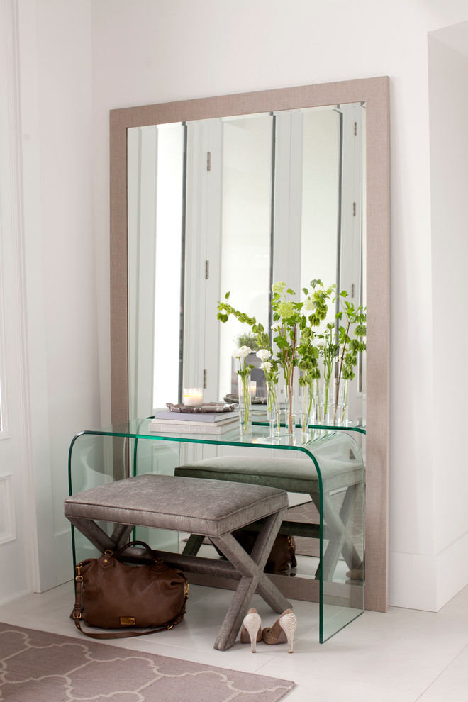 simple glass mirrored entryway table glass table soft chair standing fullsize mirror pattern rug