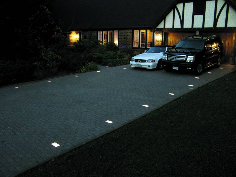 simple modern LED driveway inground lights for house sophistication