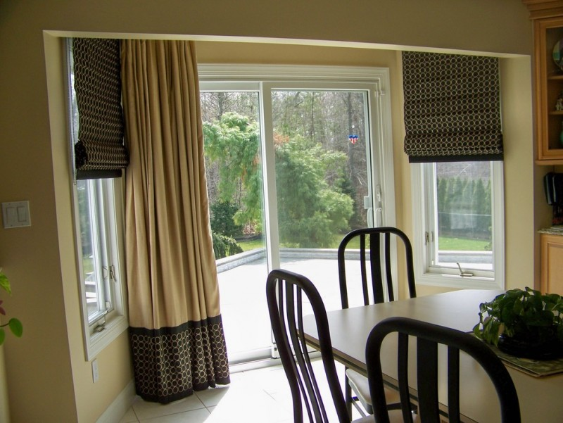 sliding glass door sun protection roman side windows patio door window treatment big curtain