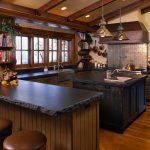 Soapstone Kitchen Island Rustic Kitchen Hardwood Floor Stools Lamps Window Bookshelves Drawers Cabinet