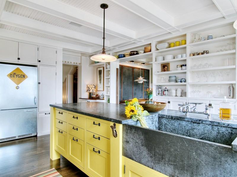 soapstone kitchen island sink shelves drawers cabinet shabby chic style kitchen hanging lamp