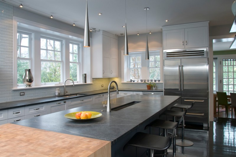soapstone kitchen island window chairs table contemporary kitchen hanging lamps wall cabinet ceiling lights