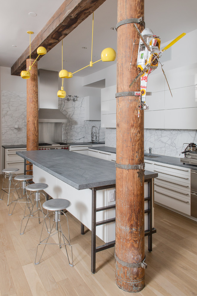 soapstone kitchen island wood floor pillars small helicopter stone industrial kitchen lamps stools