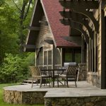Stone Front House Skirting Idea For Rustic Cabin's Patio And Screened Porch
