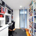Students Furniture For Studying Bookshelves Books Door Black Chair White Built In Desk Computer