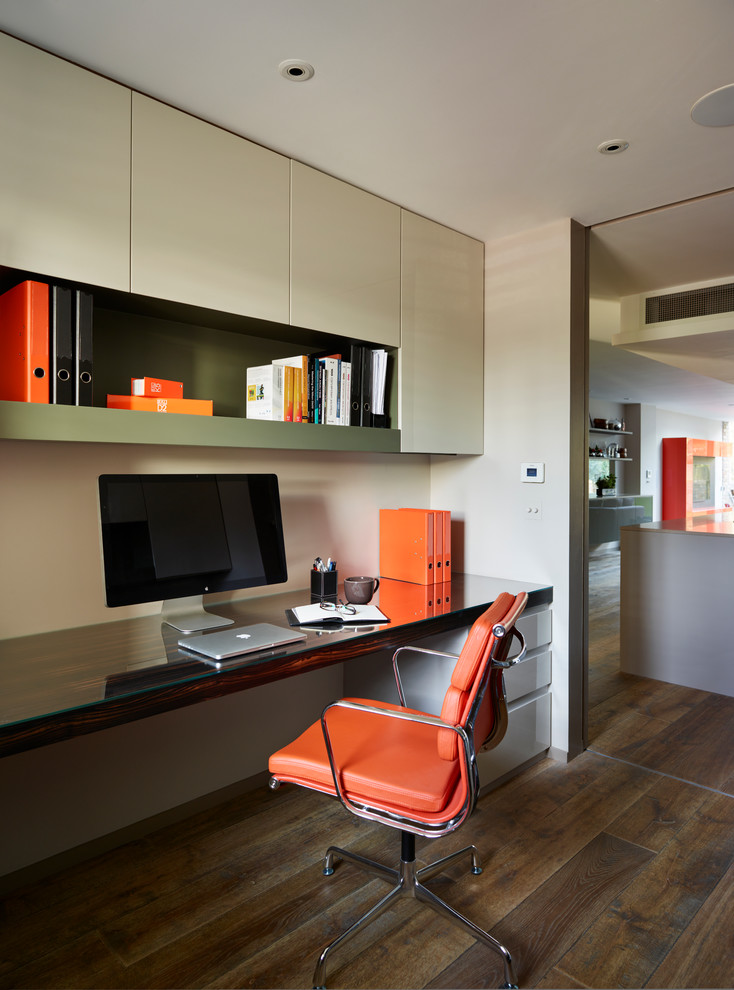 students furniture for studying hardwood floor orange leather chair built in desk shelves computer books storage