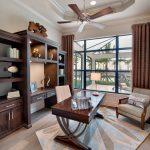 students furniture for studying wood floor carpet bookshelves books shelves chair desk big window curtains ceiling fan lights