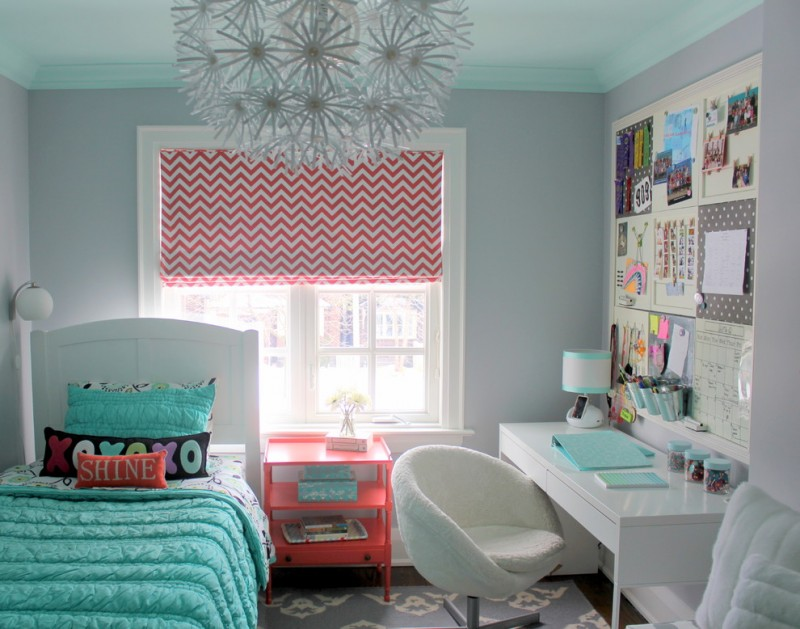 stylish bedroom design with kids bed pillows wall lamp hanging decorative lamp chair table photos window shelf books carpet