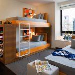 Stylish Bedroom Design With Kids Beds Shelves Big Window Pillows Modern Design Carpet Ladder