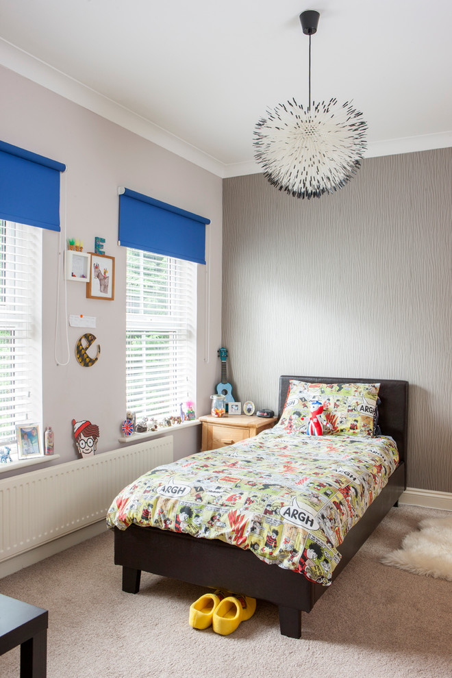 stylish bedroom design with kids carpet bed pillow window table hanging decoration