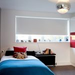 Stylish Bedroom Design With Kids Carpet Bed Pillows Big Windows Toys Red Blue Contemporary Room Shelf Lamp