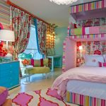 stylish bedroom design with kids carpet round top table bed pillows curtains window contemporary room drawers lamps decorative hanging light