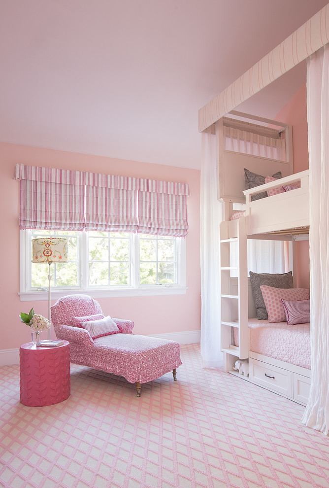 stylish bedroom design with kids carpet windows two beds ladder transitional room pillows table lamp flowers