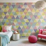 stylish bedroom design with kids chair pillows table window colourful wall contemporary room lamp