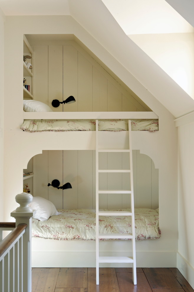 stylish bedroom design with kids ladder beds wood floor railing traditional room lamps shelves