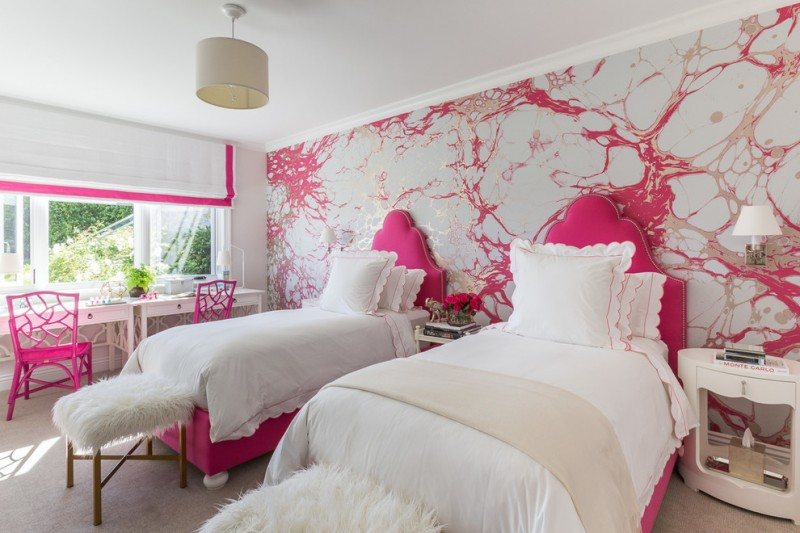 stylish bedroom design with kids red chairs big window wall patterns bed pillows lamps hanging lamp books table drawers