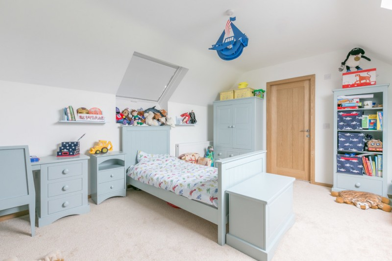 stylish bedroom design with kids small bed shelves toys table farmhouse room cabinet drawers