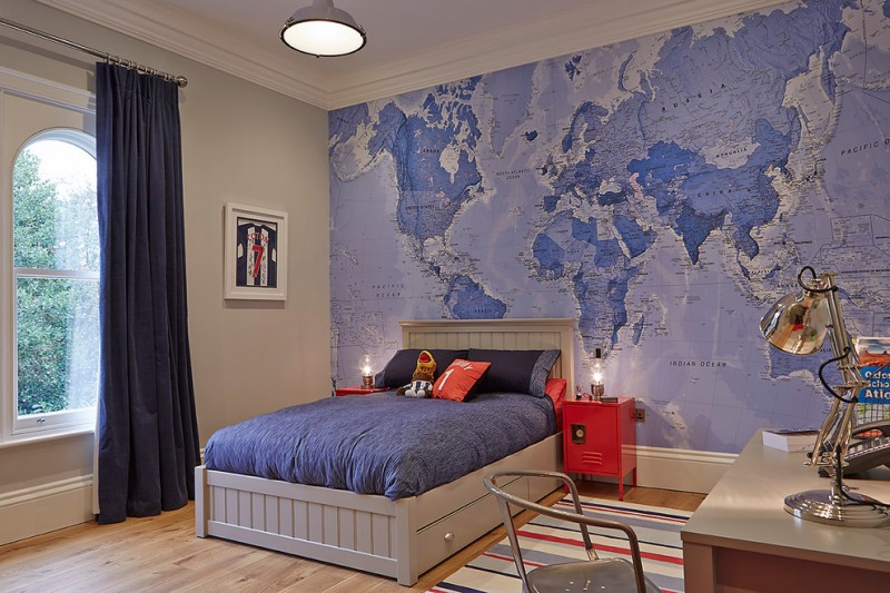 stylish bedroom design with kids study lamp hanging light big window curtain bed pillows books map wood floor contemporary room table chair