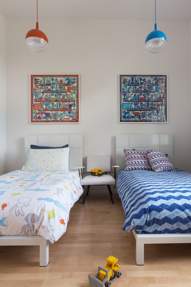 stylish bedroom design with kids two beds toys hanging lamps contemporary room pillows paintings chairs