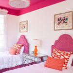 Stylish Bedroom Design With Kids Two Beds Window Painting Transitional Kids Room Pillows Pink White Table Lamp
