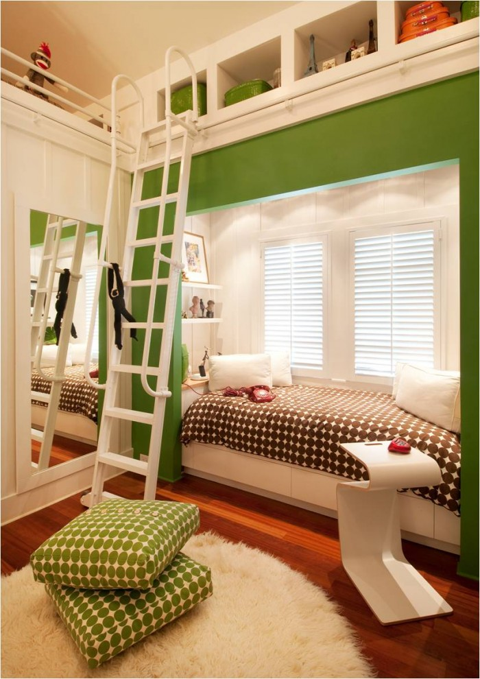 stylish bedroom design with kids wood floor carpet modern table tall ladder bed pillows mirror shelves transitional room big windows