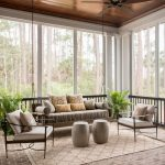 Sunroom With Ceiling Fan, Swing Couch, Chairs With Grey Cushion, Grey Ottoman Ofr Coffee Table, Beige Rug