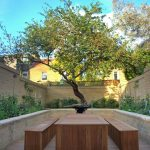 terrace color house benches table brick walls plants contemporary terrace