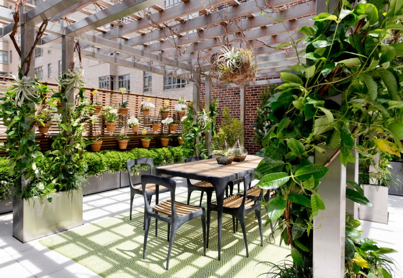 terrace color house chairs table plants pots flowers brick wall carpet contemporary design
