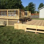 traditional deck with outdoor pool wood lattice deck skirt and rails