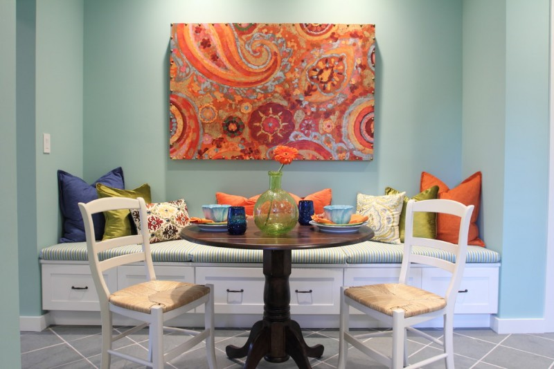 traditional dining room bright colour schemes bench drawers pillows table chairs painting light blue wall